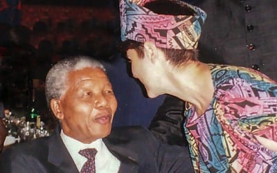 Sha with Mandela at his 75th birthday