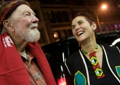 Sharon and Pete Seeger after performing together at Joe's Pub NYC